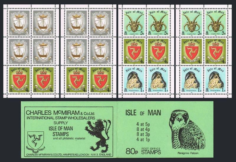 Isle of Man 146c x2/190a x2 booklet,MNH. Millennium.Falcon,Ship.Ram,Arms.1979.
