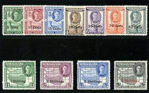 Somaliland 1951 KGVI set complete MLH. SG 125-135. Sc 116-126.