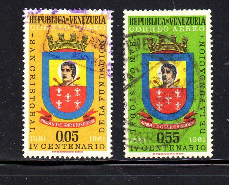 VENEZUELA #C774-C775  1961  ARMS    F-VF USED