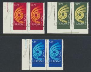 GREECE 1973 EUROPA MAJOR PERFORATION SHIFT SET, VF MNH Sc#1090-92 (SEE BELOW)