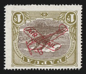PAPUA 1930 Airmail 1/- Harrison printing, error INVERTED MNH ** EXP. 40 EXISTED!