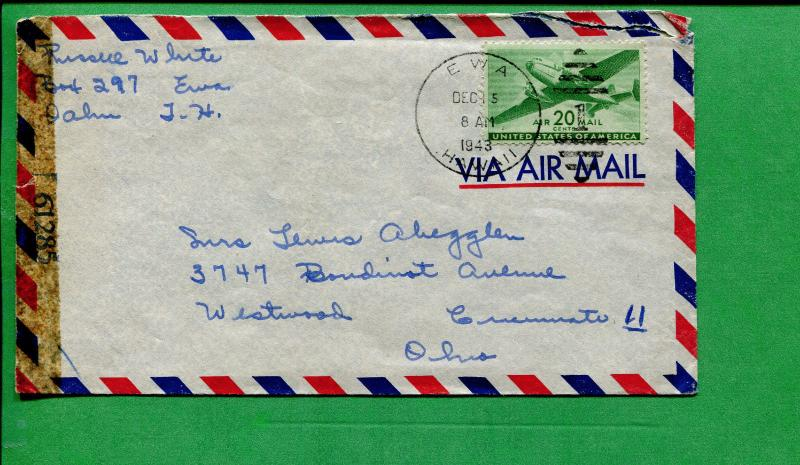 Censored Hawaii Air Mail 1943 Ewa to Westwood OH W/ Duplex Cancel - S8463