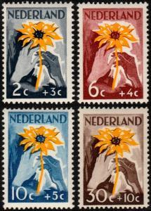 ✔️ NETHERLANDS 1949 - NIWIN SUNFLOWER SEMI POSTALS - NVPH 538/541 ** MNH OG