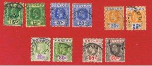 Ceylon #236-240a  VF used  King George V