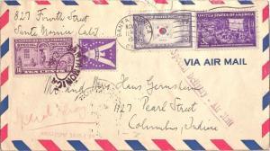 United States California Santa Monica 1944 machine  5c Korea Overrun Nations,...