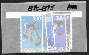 YUGOSLAVIA Sc#870-875 Complete Mint Never Hinged Set