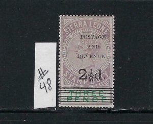 SIERRA LEONE SCOTT #48 1897 OVERPRINT/SURCHARGE 2 1/2 ON 3P - MINT LIGHT HINGED