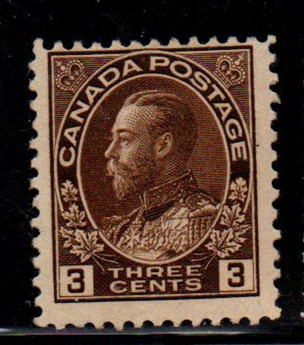 Canada Sc 108 1918 3c brn G V Admiral stamp mint