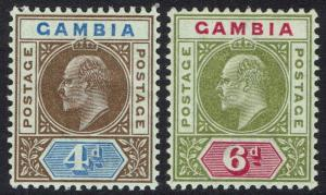 GAMBIA 1902 KEVII 4D AND 6D WMK CROWN CA