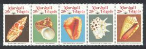Marshall Is. Sea Shells 4th series strip of 5v SG#220-224