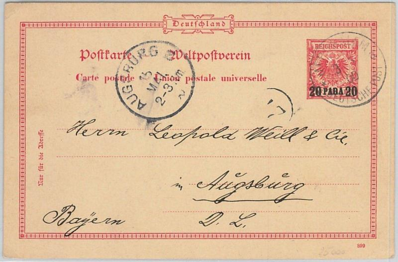 58525 -  ISRAEL German Levant - POSTAL HISTORY: STATIONERY CARD to AUGSBURG 1900