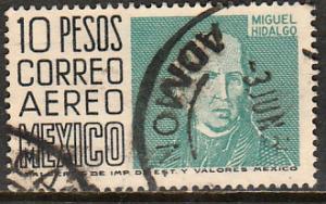 MEXICO C267, $10Pesos 1950 Definitive 2nd Printing wmk 300. USED. F-VF. (1399)