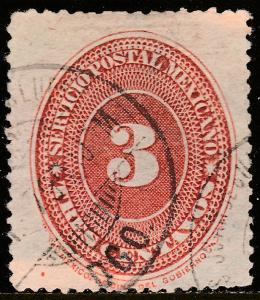 MEXICO 184, 3cents LARGE NUMERAL, USED. F-VF. (92)