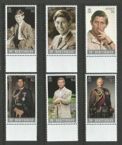 Jersey 2018 MNH Prince Charles 70th Birthday 6v Set Royalty Stamps