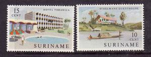 Suriname-Sc#306-7-unused NH set-Torarica Hotel-1962-