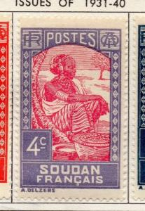 French Sudan 1931 Issue Fine Mint Hinged 4c. Pictorial 140592