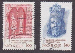 Norway # 635-636, King Magnus VI, Used, 1/2 Cat.