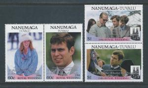 Tuvalu-Nanumaga #74-5 NH Andrew & Sarah Ovptd. Congratul...