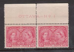 Canada #53 NH Mint Plate #1 Pair
