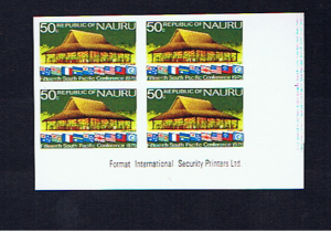 NAURU 1975  CONFERENCE 50c IMPERFORATE BLOCK OF FOUR