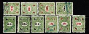 Denmark - 10 Chocolate Tax Stamps - Used - 052117
