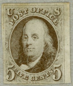 US Scott#1 VF sound unused 1847 first issue 5c Franklin with 4 clear margins!