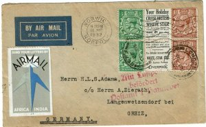 Great Britain 1932 Norwich cancels on cover to Germany, White Star booklet ad