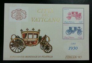 Vatican Coach International Philatelic Exhibition Rome 1985 Transport (ms) MNH
