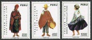 Peru C343,C346,C348,hinged.Michel 907-909. Regional costumes,set 2,04.30.1973.