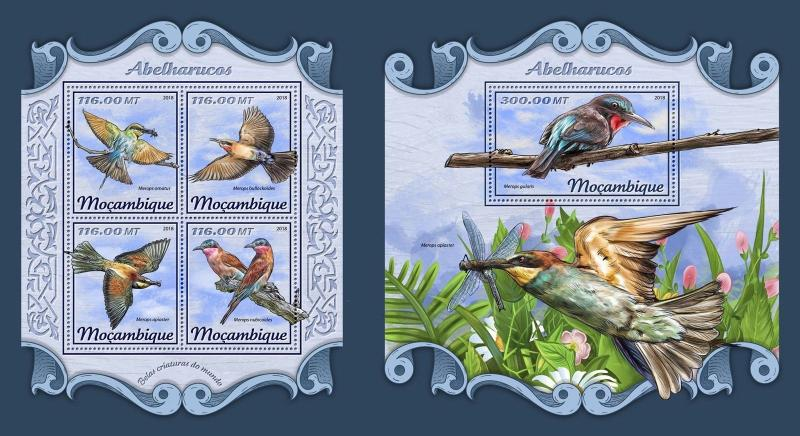 Z08 IMPERF MOZ18124ab Mozambique 2018 Bee eaters MNH ** Postfrisch Set