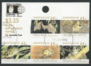 AUSTRALIA 1992 self adhesive animals block optd COLUMBIAN EXPO used.......40942a
