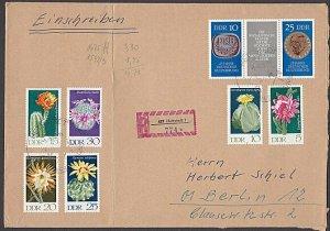 EAST GERMANY 19731Registered cover - Nice franking - flowers................B691