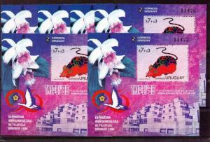 China Lunar year year of rat URUGUAY #B8 MNH S/S x6 cv$50 orchid bird Taipei 96
