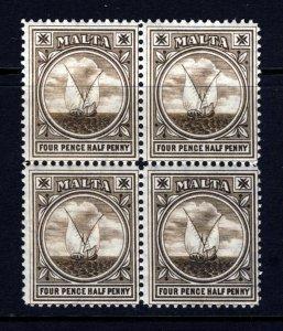 MALTA KE VII 1905 4½d. Brown BLOCK OF FOUR Wmk Multiple Crown CA SG 57 MNH