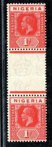 NIGERIA KGV SG.16c 1d Red (Die I/Die II) GUTTER PAIR Mint MNH Cat £425+ XBLUE8