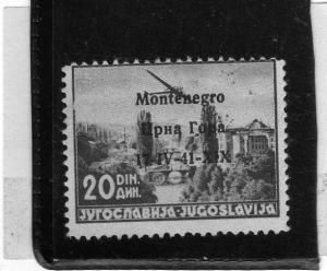 MONTENEGRO 1941 POSTA AEREA AIR MAIL SOPRASTAMPATO SURCHARGED 20 D MNH