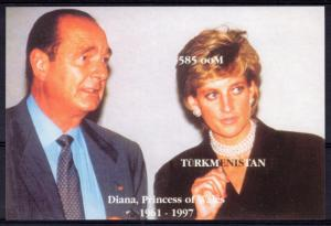 Turkmenistan 1997 YT#Bl.8 Princess Diana and President Jacques Chirac SS IMPERF.
