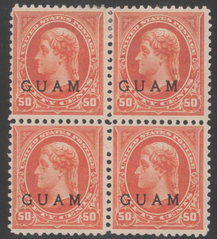 GUAM #1 UNUSED BLOCK OF 4 WITH PSAG CERT CV $1600.00 HV774