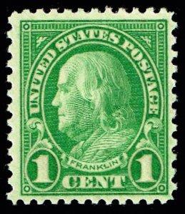 US STAMP #632 – 1926-28 1c Franklin, green MNH/OG