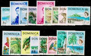 DOMINICA SG162-178, COMPLETE SET, FINE USED, CDS. Cat £42.