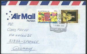 AUSTRALIA 1996 cover to Germany - nice franking - Sydney pictorial pmk.....53493