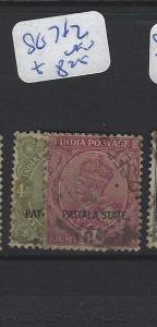 INDIA  PATIALA    (P2807B)   KGV  4A, 8A   SG 71-2   VFU