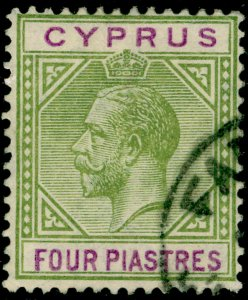 CYPRUS SG95, 4pi olive-green & purple, FINE USED. Cat £25.