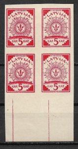 1918 Latvia Sc1 Arms block of 4  printed on brown black map unused.