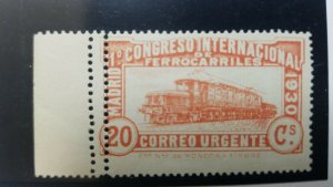 O) 1930 SPAIN,DOUBLE PERFORATION, NOT RECORDED,URGENT MAIL - RAILWAY CONGRESS