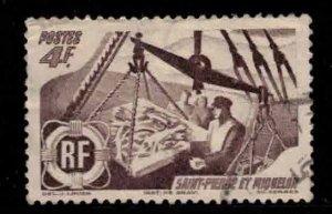 ST PIERRE & MIQUELON Scott # 336 Used 2 - Fishermen Weighing the Catch
