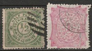 India Cochin 1898 Sc 9-10 used thin paper