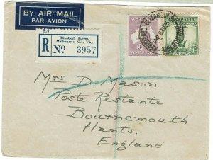 AUSTRALIA 1935 REGISTERED AIRMAIL COVER KANGAROO TO ENGLAND