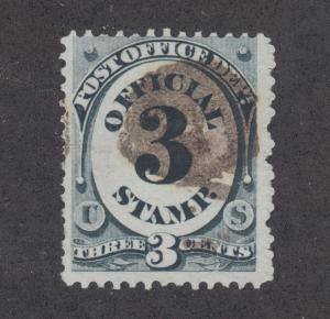 US Sc O49 used. 1873 3c black Post Office Department Official, brown cancel
