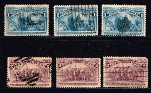 US STAMP  #230,231 1,2c 1893 Columbian Issue Used STAMPS LOT
